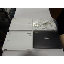 4 CHROME BOOK LAPTOPS AND ONE POWER CORD - NON WORKING CUSTOMER RETURNS