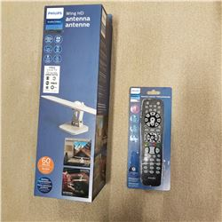 NEW OVERSTOCK PHILIPS WING ELITE HD DIGITAL ANTENNA, 1080P, 4K READY, 60 MILE RECEPTION RATING, WITH