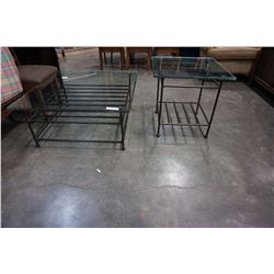 IRON COFFEE TABLE GLASS TOP 3 X 3 FOOT AND MATCHING ENDTABLE 2 X 2 FOOT