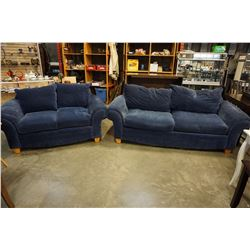 BLUE UPHOLSTERED SOFA AND LOVE SEAT