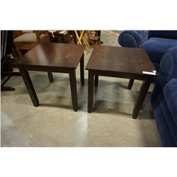 PAIR OF MODERN SQUARE END TABLES