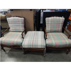 PAIR OF WOOD FRAMED RUSH SEAT CHAIRS AND OTTOMAN