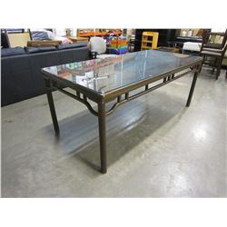 WOOD DINING TABLE WITH GLASS TOP