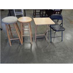 2 STOOLS, FOLDING CHAIR, AND TV TRAY