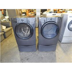 DARK GREY ELITE HE3T FRONT LOAD WASHER AND DRIER W/ PEDESTAL BASES - TESTED AND WORKING