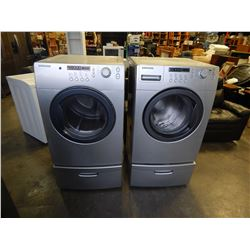 LIGHT GREY SAMSUNG FRONT LOAD WASHER AND DRIER SET - TESTED AND WORKING