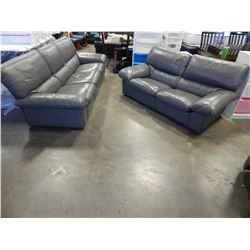 GREY GE LEATHER SOFA AND LOVESEAT
