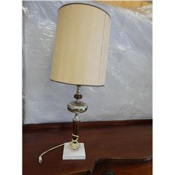 MCM WOOD, METAL, AND MARBLE TABLE LAMP