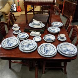27 PIECES INTERNATIONAL TABLE WORKS BLUE AND WHITE CHINA PLATES, BOWLS, PLATTERS GRAVY BOAT AND BUTT