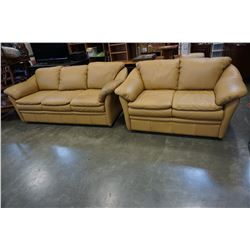 BROWN LEATHER SOFA AND LOVE SEAT