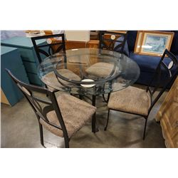 ROUND GLASSTOP METAL BASE DINING TABLE W/ 4 CHAIRS