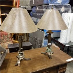 2 METAL BASE TABLE LAMPS