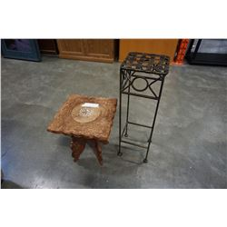 WOOD CARVED END TABLE AND METAL PLANTER STAND