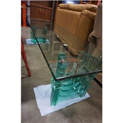 DOUBLE PEDESTAL GLASS COFFEE TABLE