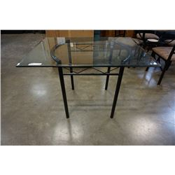 GLASSTOP METAL BASE DINING TABLE