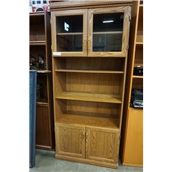 OAK 6FT BOOKSHELF W/ DOORS