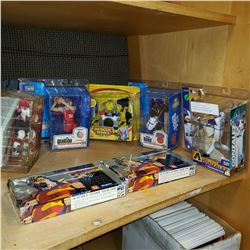 LOT OF BOXED HOCKEY, BASKETBALL, AND BASEBALL FIGURES, AND SUPERMAN CARDS