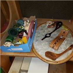 LOT OF WINE ITEMS ON SHELL TRAY AND FISH AND SHELL ITEMS