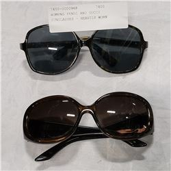 WOMENS FENDI AND GUCCI SUNGLASSES - HEAVILY WORN