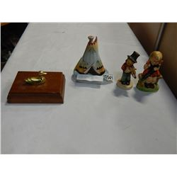 2 HUMMEL STYLE FIGURES HAND PAINTED DISH AND BRASS DUCK DRESSER BOX