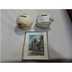 2 BUNNYKINS COIN BANKS AND PICTURE FRAME