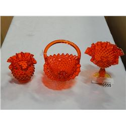 RED HOBNAIL BASKET AND DISHES