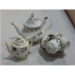 ROYAL DOULTAN TEAPOT AND ROYAL ALBERT ANNIVERSARY TEA POT W/ 4 CUPS AND SAUCERS