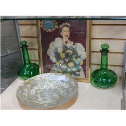 ART GLASS DISH, 2 GREEN GLASS DECANTERS, AND QUEEN CORONATION SOUVENIR