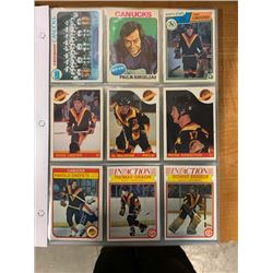 BINDER OF CANUCKS PLAYER CARDS FROM DIFFERENT YEARS