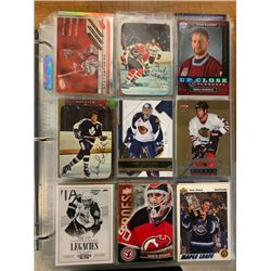 BINDER OF APPROX 450 HOCKEY CARDS, ROOKIE, LIMITED NUMBERED, EXCLUSIVES AND STARS, APPROX BOOK VALUE