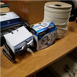 NEW ROLODEX, XACTO SHARPENER AND SPOOL OF FLAT ROPE