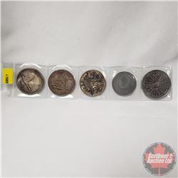 Canada 3 Silver Dollars (1967; 1949; 1953) & 2 Tokens (1968 Ottawa Canada Pierre Trudeau & 1980 Augu