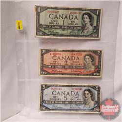 Canada (3) Bills 1954: $5 Beattie/Rasminsky S/S8280549 AND $2 Beattie/Rasminsky V/R1815253 AND $1 DF