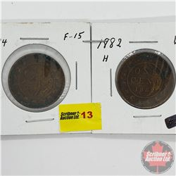 Canada Large Cent - Strip of 2: 1884; 1882H
