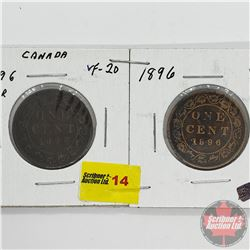 Canada Large Cent - Strip of 2: 1896 Far 6; 1896