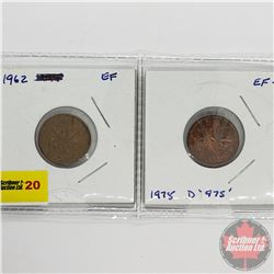 Canada Large Cent - Strip of 2: 1962; 1975 (Double 975)