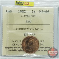 Canada One Cent : 1982 Red (ICCS Cert MS-66)