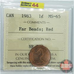 Canada One Cent : 1983 Far Beads; Red (ICCS Cert MS-65)