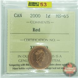 Canada One Cent : 2000 Red (ICCS Cert MS-65)