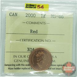 Canada One Cent : 2000 Red (ICCS Cert MS-66)