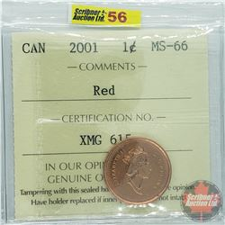 Canada One Cent : 2001 Red (ICCS Cert MS-66)
