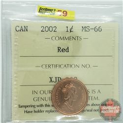 Canada One Cent : 2002 Red (ICCS Cert MS-66)