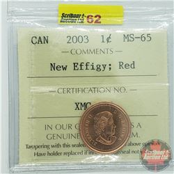 Canada One Cent : 2003 New Effigy; Red (ICCS Cert MS-65)