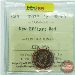 Canada One Cent : 2003P New Effigy; Red (ICCS Cert MS-66)