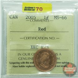 Canada One Cent : 2005 Red (ICCS Cert MS-66)