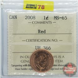 Canada One Cent : 2008 Red (ICCS Cert MS-65)