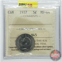 Canada Five Cent : 1937 (ICCS Cert MS-64)