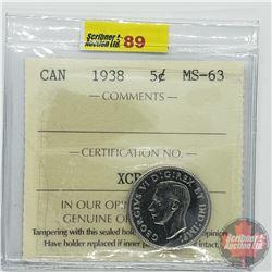 Canada Five Cent : 1938 (ICCS Cert MS-63)