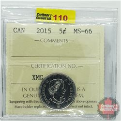 Canada Five Cent : 2015 (ICCS Cert MS-66)