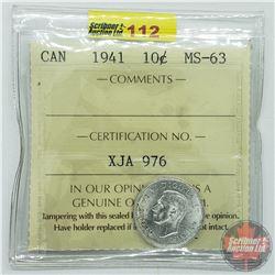 Canada Ten Cent : 1941 (ICCS Cert MS-63)